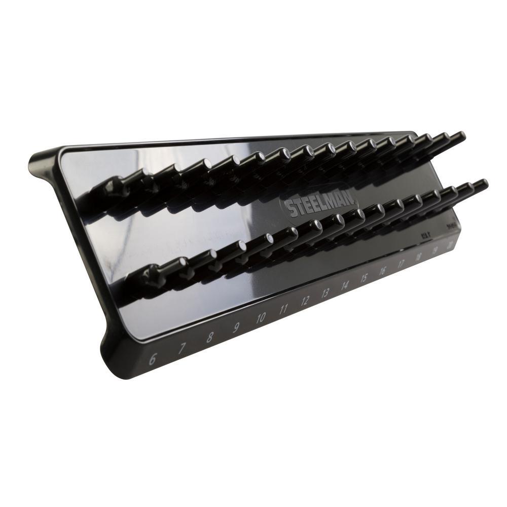 3/8 in. Drive 30-Post Metric Socket Holder / Storage Rail