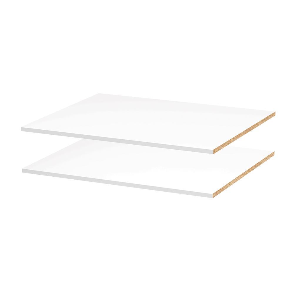 Modifi 28-5/8 in. W x 0.75 in. H x 23.5 in. D Melamine Adjustable Shelf in Polar White (2-Pack)