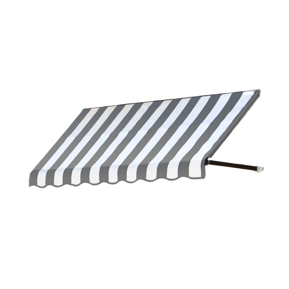 AWNTECH 8 ft. Dallas Retro Window/Entry Awning (56 in. H x 36 in. D) in Gray / White Stripe