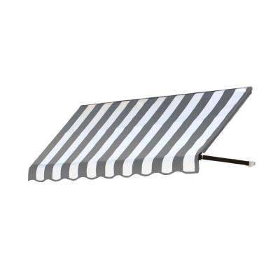 12 ft. Dallas Retro Window/Entry Awning (16 in. H x 24 in. D) in Gray/White Stripe