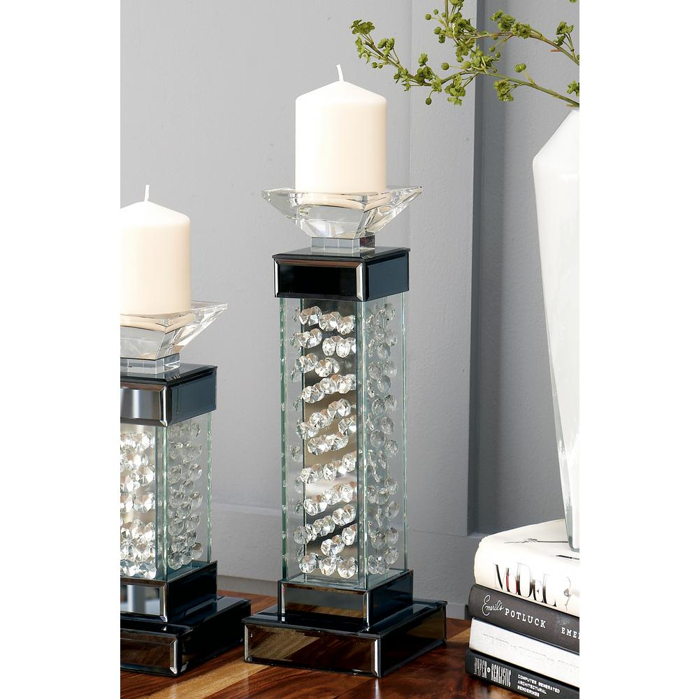 15 in. Gray Mirror and Clear Glass Crystal Bubble Candle Holder