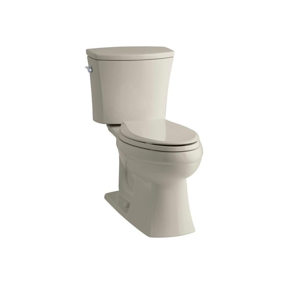 KOHLER Kelston Comfort Height 2-piece 1.6 GPF Elongated Toilet with AquaPiston Flushing Technology in Sandbar