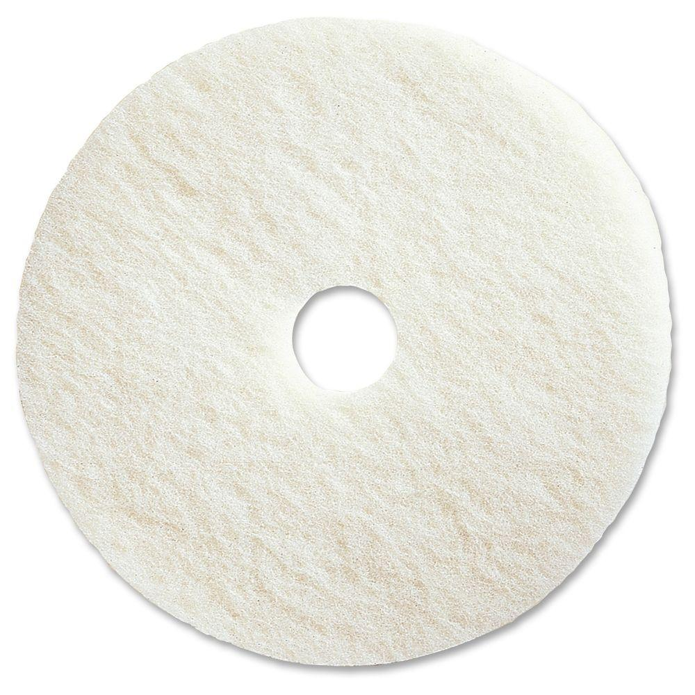 19 in. White Polishing Floor Pad (5 per Carton)
