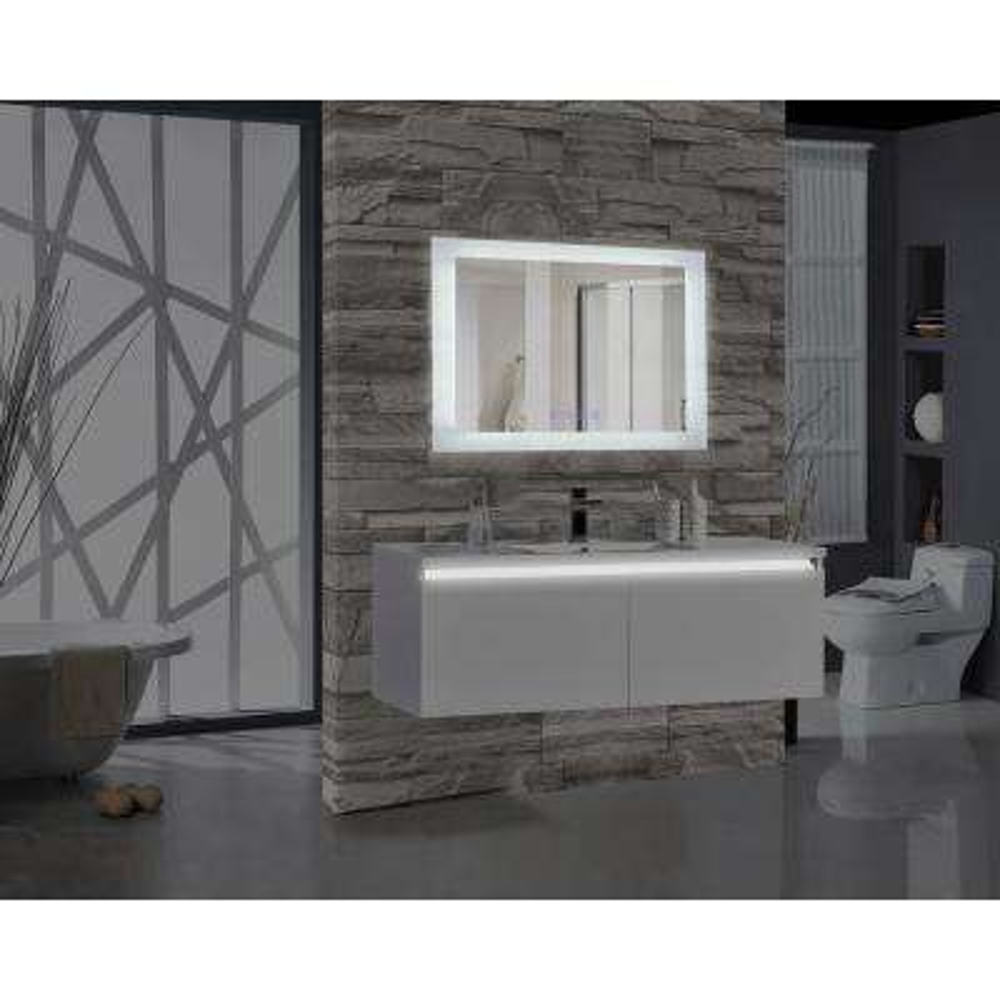 Encore BLU103 48 in. W x 27 in. H Rectangular LED Illuminated Bathroom Mirror with Bluetooth Audio Speakers