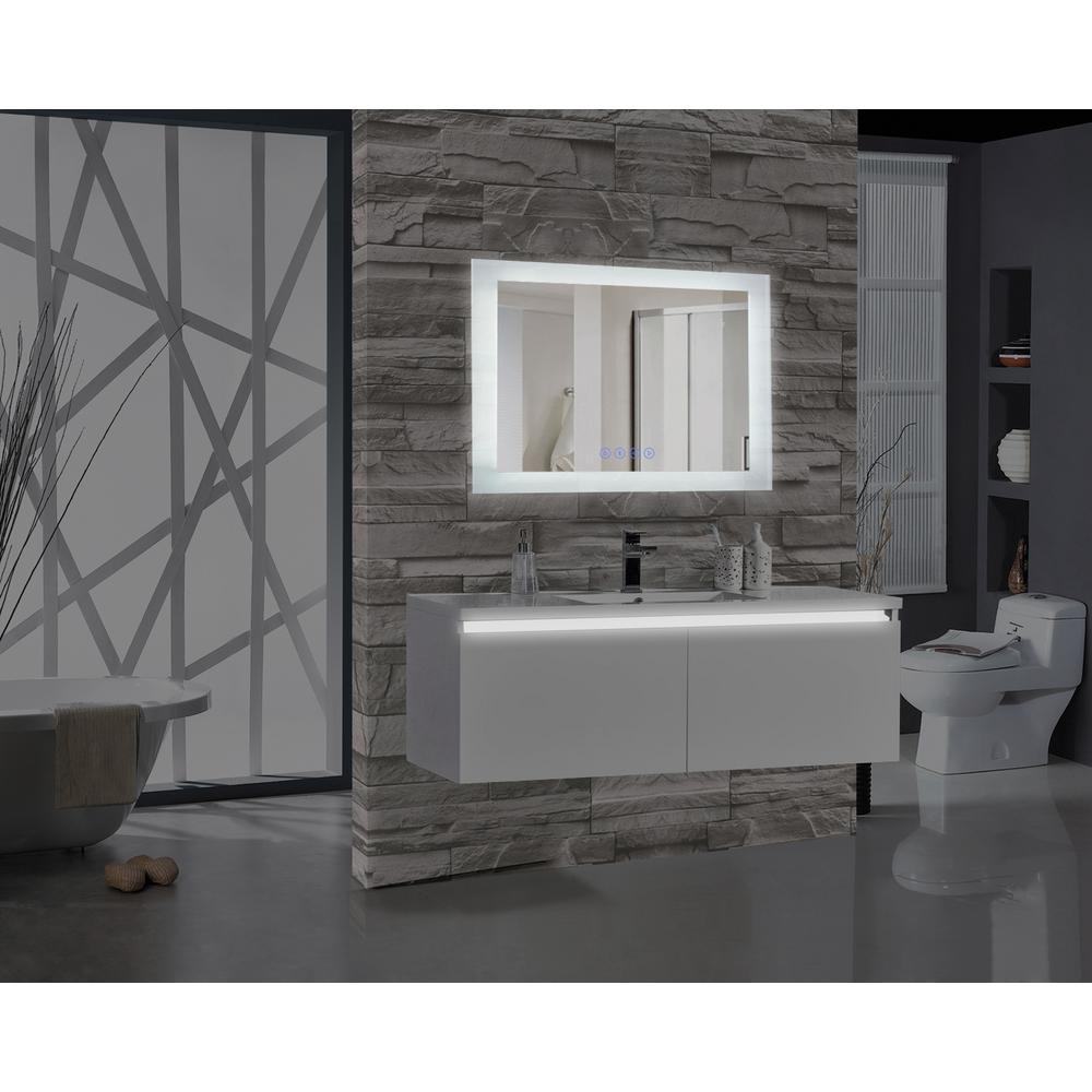 Encore BLU103 48 inch W x 27 inch H Rectangular LED Illuminated Bathroom Mirror with Bluetooth Audio Speakers by