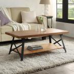 Brown Solid Wood Coffee Table with Metal Legs