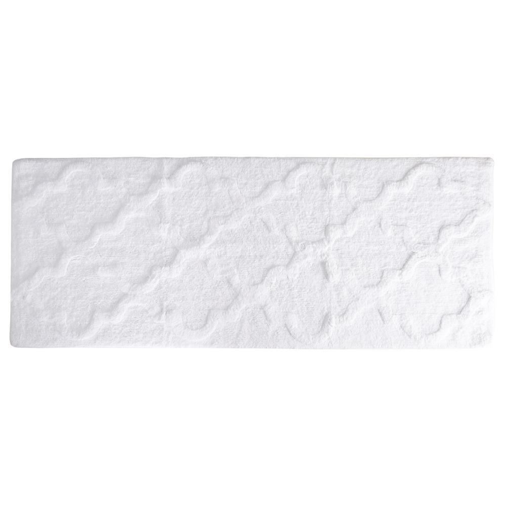 Trellis White 24 in. x 60 in. Bathroom Mat