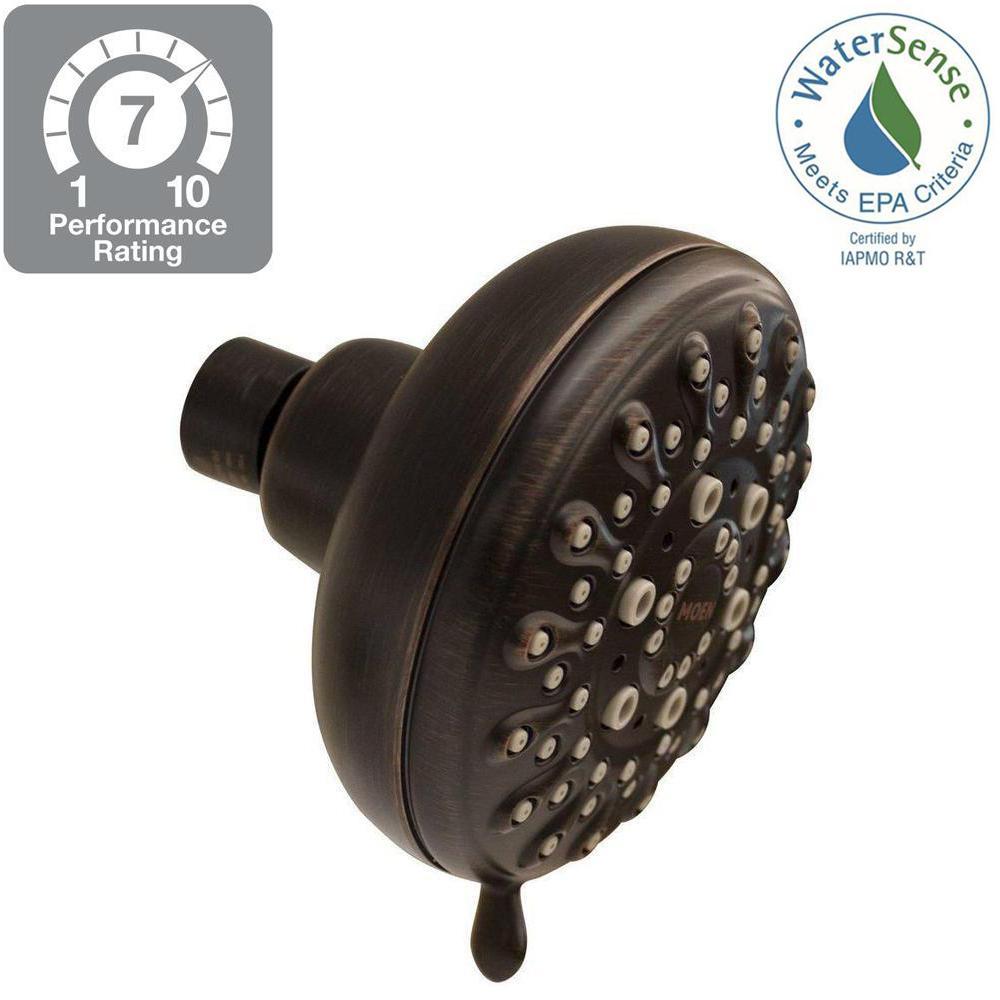 Banbury 5-Spray 4 in. Single Wall Mount Fixed Shower Head in Mediterranean Bronze