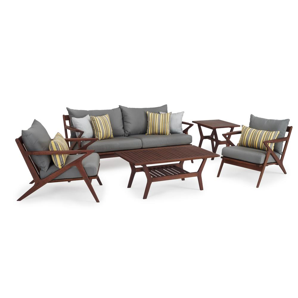 RST Brands Vaughn 5-Piece Wood Patio Conversation Set with Sunbrella Charcoal Grey Cushions