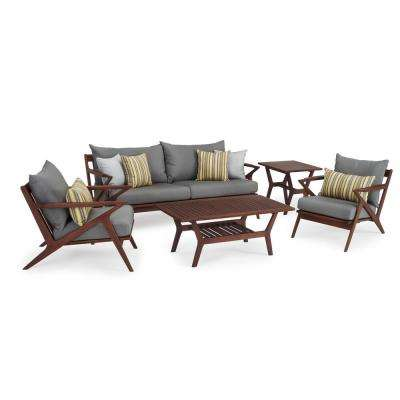 Vaughn 5-Piece Wood Patio Conversation Set with Sunbrella Charcoal Grey Cushions