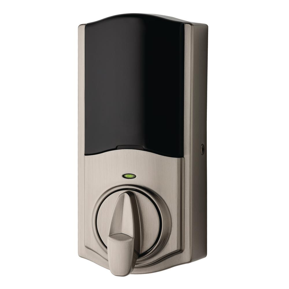 Kwikset Kevo Convert Smart Lock Satin Nickel Conversion Kit featuring Bluetooth Technology