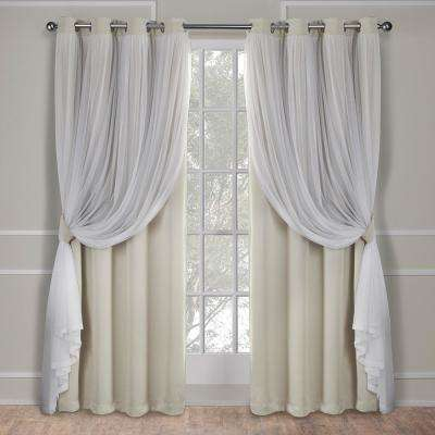 Catarina 52 in. W x 108 in. L Layered Sheer Blackout Grommet Top Curtain Panel in Sand (2 Panels)