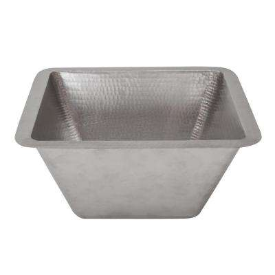 Under Counter/Surface-Mount Square Hammered Copper 15 in. 0-Hole Bar/Prep Sink in Nickel with 3.5 in. Drain Opening