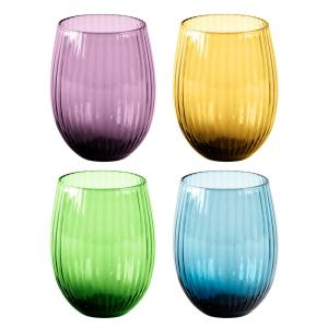 HOME ESSENTIALS AND BEYOND Jewel 4-Piece Assorted Stemless Wine Glasses by HOME ESSENTIALS AND BEYOND
