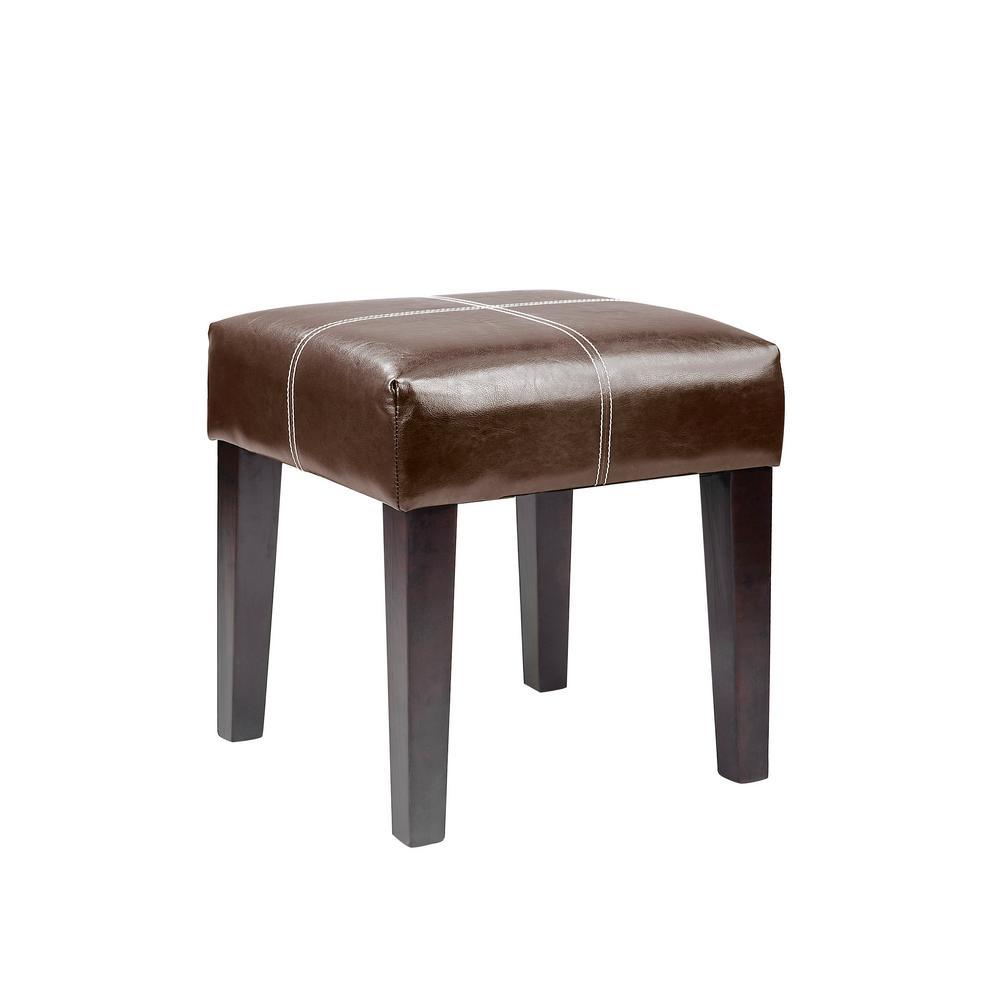 "Antonio 16"" Square Bench in Dark Brown Bonded Leather"