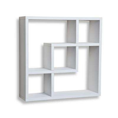 Contempo 18 in. W x 18 in. H White MDF Geometric Square Wall Shelf with 5-Openings