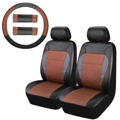 47 in. x 23 in. x 1 in. PU Front Universal Car Seat Covers Leather Seat Covers For Car, SUV, Truck or Van (8-Piece)