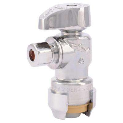 1/2 in. Chrome-Plated Brass Push-to-Connect x 1/4 in. O.D. Compression Quarter-Turn Angle Stop Valve