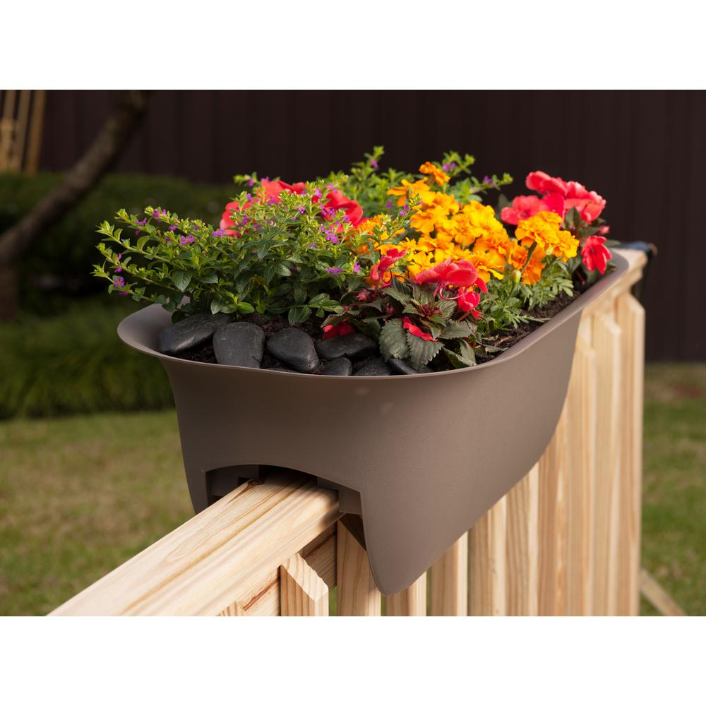 bloem 24 x 8 75 chocolate modica plastic deck rail planter mr2445 rh homedepot com Garden Bridges Home Depot Self Watering Planters Home Depot