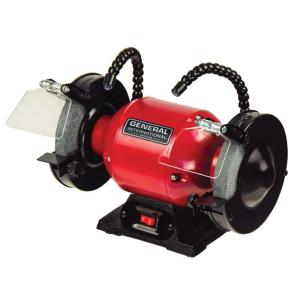 General International 2 Amp 6 inch Bench Grinder with Twin LED Work Lights by General International