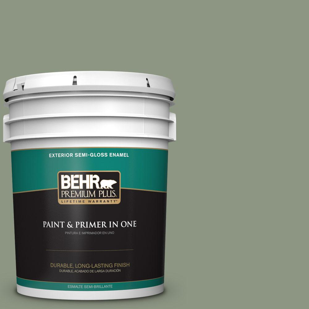 5 gal. #PPU11-17 Hillside Green Semi-Gloss Enamel Exterior Paint