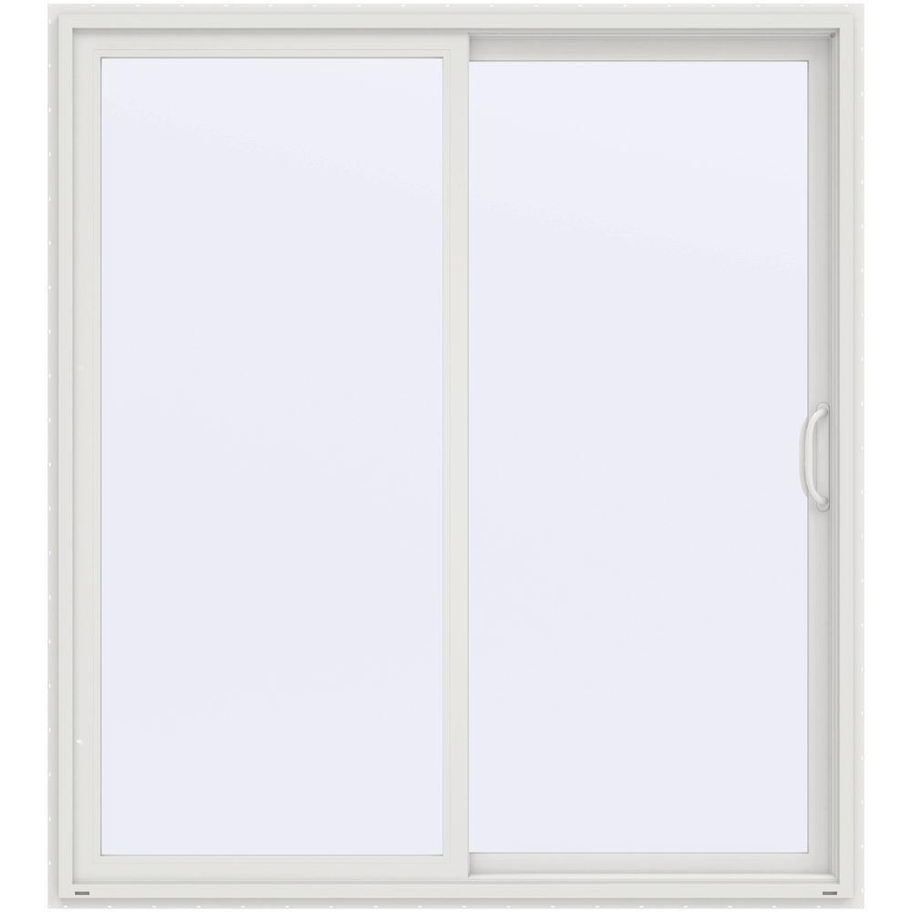 Jeld wen 72 in x 80 in v 4500 white prehung right hand for White sliding patio doors