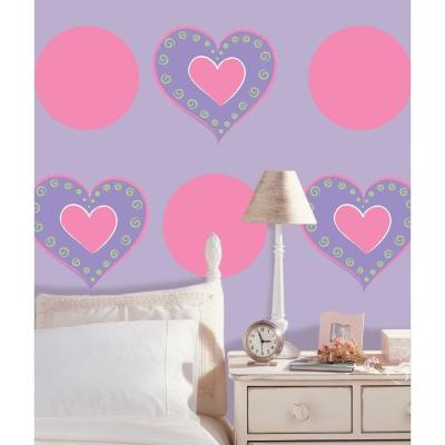13 in. x 13 in. Purple Heart of Hearts Wall Decal