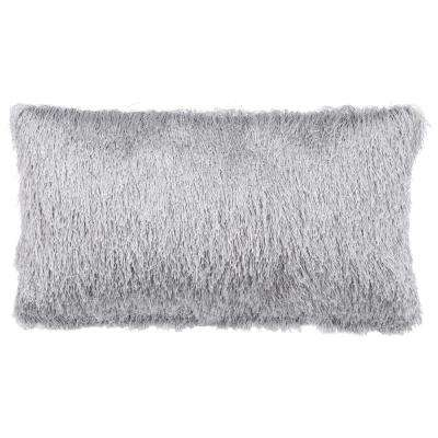 14 in. x 24 in. Soleil Shag Silver Rectangle Outdoor Throw Pillow