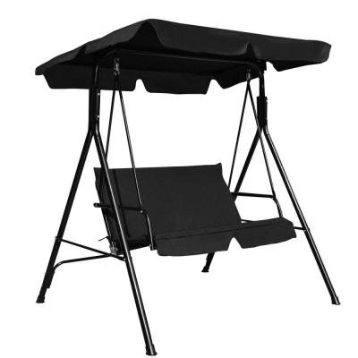 2-Person Steel Frame Patio Canopy Swing Glider with Black Cushion