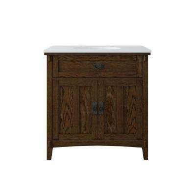 Artisan 33 in. W Vanity in Dark Oak with Marble Vanity Top in Natural White with White Sink