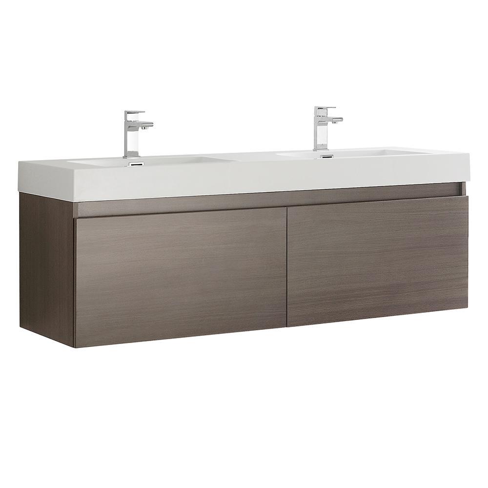 fresca mezzo 60 in modern wall hung bath vanity in gray oak with rh homedepot com white bathroom wall cabinet home depot bathroom wall cabinets home depot canada