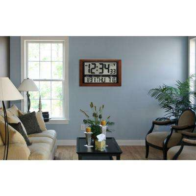 Jumbo Digital Atomic Wood Framed Wall Clock with Temperature