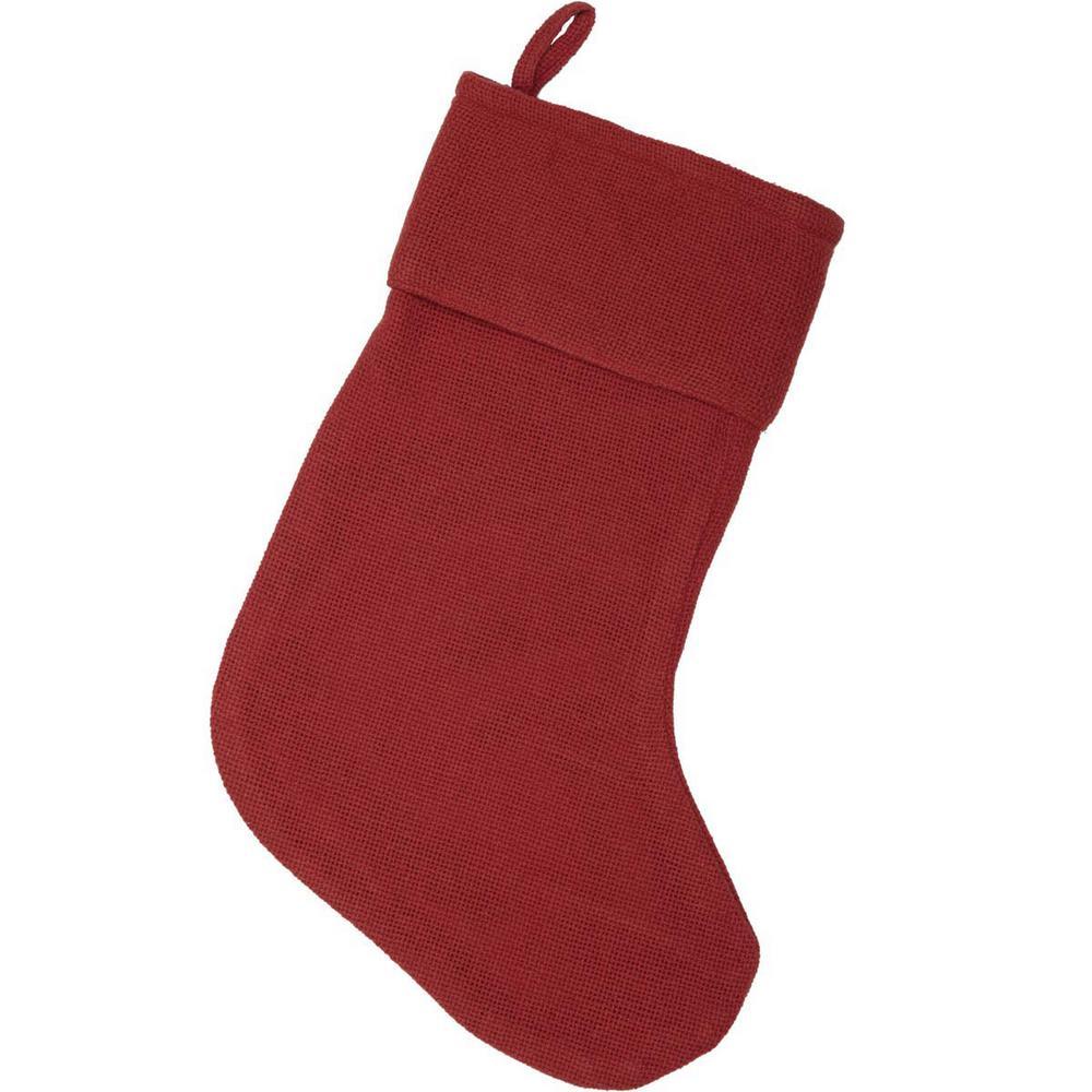 15 in. 100% Cotton Red Festive Burlap Farmhouse Christmas Decor Stocking