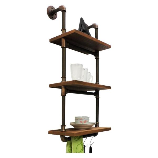 OS Home and Office Furniture Brushed Brass Industrial Pipe Three Tiered Hanging Wall Shelf