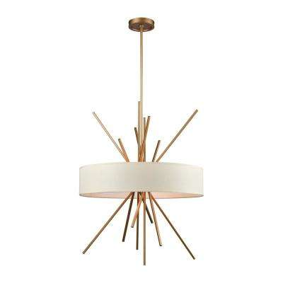 Xenia 5-Light Matte Gold Chandelier with Beige Fabric Shade