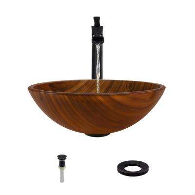 Glass Vessel Sink in Wood Grain with 731 Faucet and Pop-Up Drain in Antique Bronze