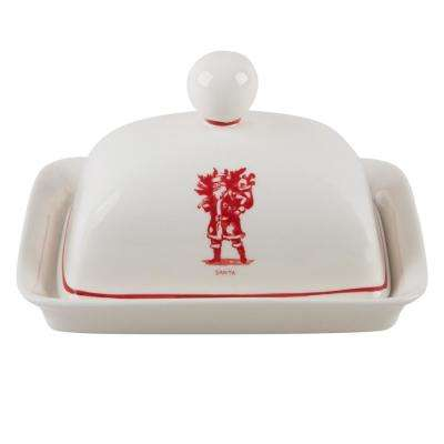 Molly Hatch 6.75 in. L Santa Butter Dish