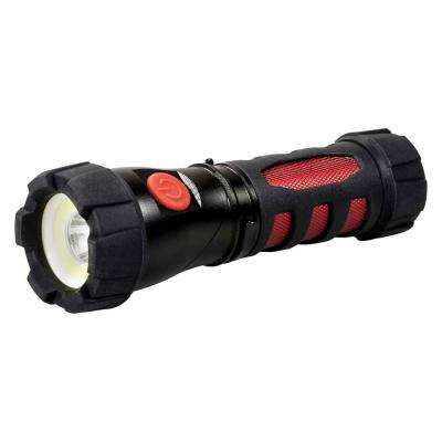 Ultra HD COB LED Flashlight with Swivel Head and Magnetic Base in Black/Red