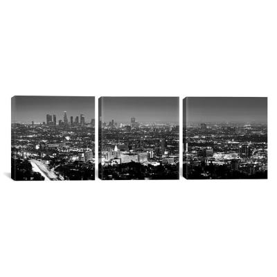 """Los Angeles Panoramic Skyline Cityscape (Black & White - Night View)"" by Unknown Artist Canvas Wall Art"