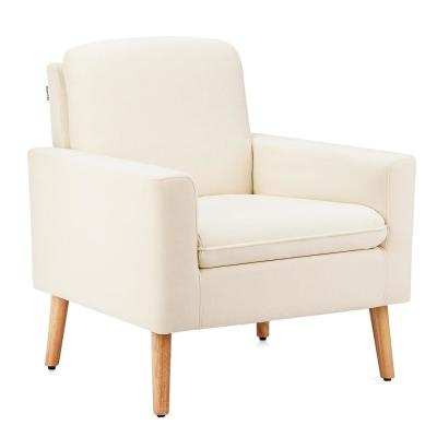 Beige Linen Upholstered Accent Arm Chair