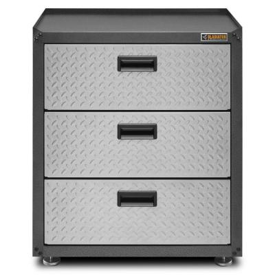 Ready to Assemble 31 in. H x 28 in. W x 18 in. D Steel 3-Drawer Freestanding Garage Cabinet in Silver Tread