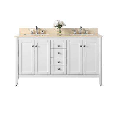 Shelton 60 in. W x 22 in. D Bath Vanity with Marble Vanity Top in Galala Beige with White Basins