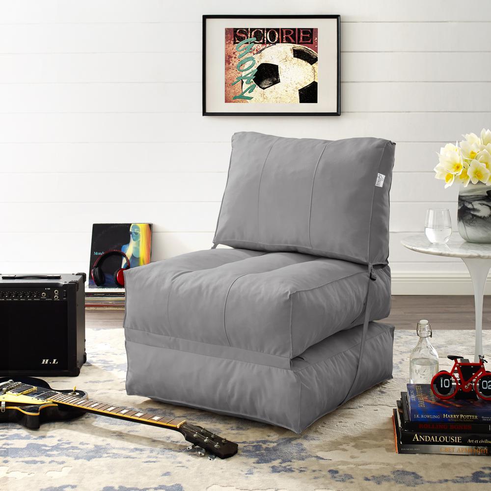 Pleasing Loungie Cloudy Light Grey Bean Bag Lounger Chair Convertible Andrewgaddart Wooden Chair Designs For Living Room Andrewgaddartcom