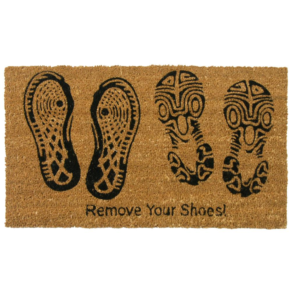 Rubber-Cal Remove Your Shoes 30 in. x 18 in. Door Mat, Bl...