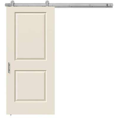 36 in. x 84 in. Cambridge Primed Smooth Molded Composite MDF Barn Door with Modern Hardware Kit