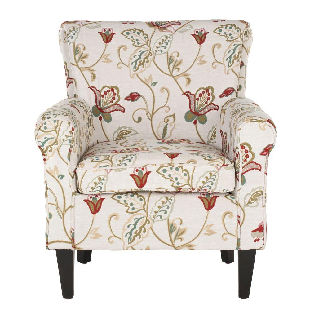 Attirant Safavieh Hazina White And Red Cotton Blend Club Arm Chair