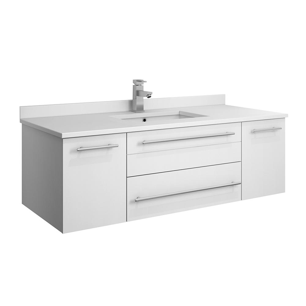 . Fresca Lucera 48 in  W Wall Hung Bath Vanity in White with Quartz Stone  Vanity Top in White with White Basin