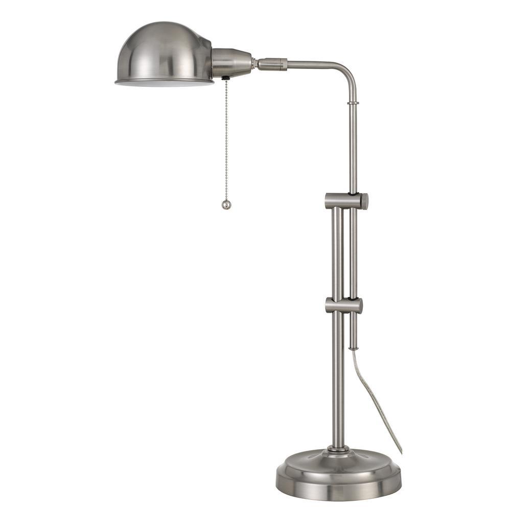 31 in. Brushed Steel Indoor Desk Lamp with Adjustable Pole