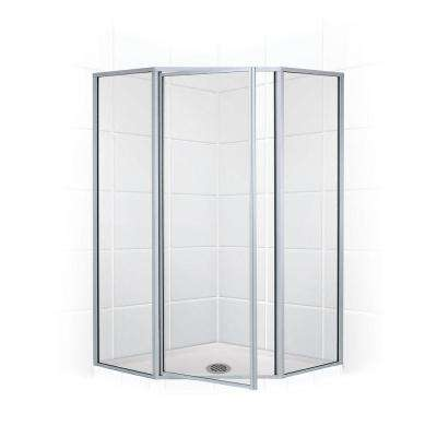 Legend Series 58 in. x 70 in. Framed Neo-Angle Swing Shower Door in Platinum and Clear Glass