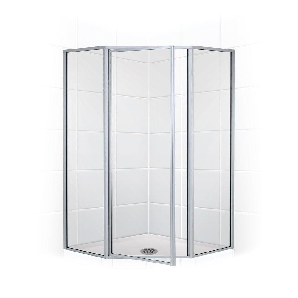 Coastal Shower Doors Legend Series 59 in. x 66 in. Framed Neo-Angle Shower Door in Platinum and Clear Glass